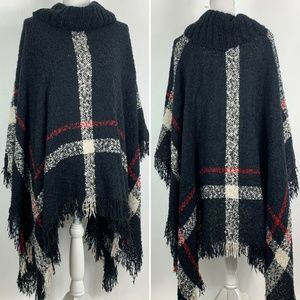 Poncho Sweater Womens S/M Turtleneck Tassel Plaid